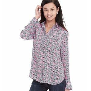 Banana Republic Pink & Green Batik Popover Blouse